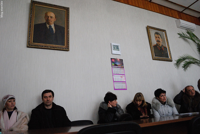Portrets of Stalin & Lenin in the administration offices