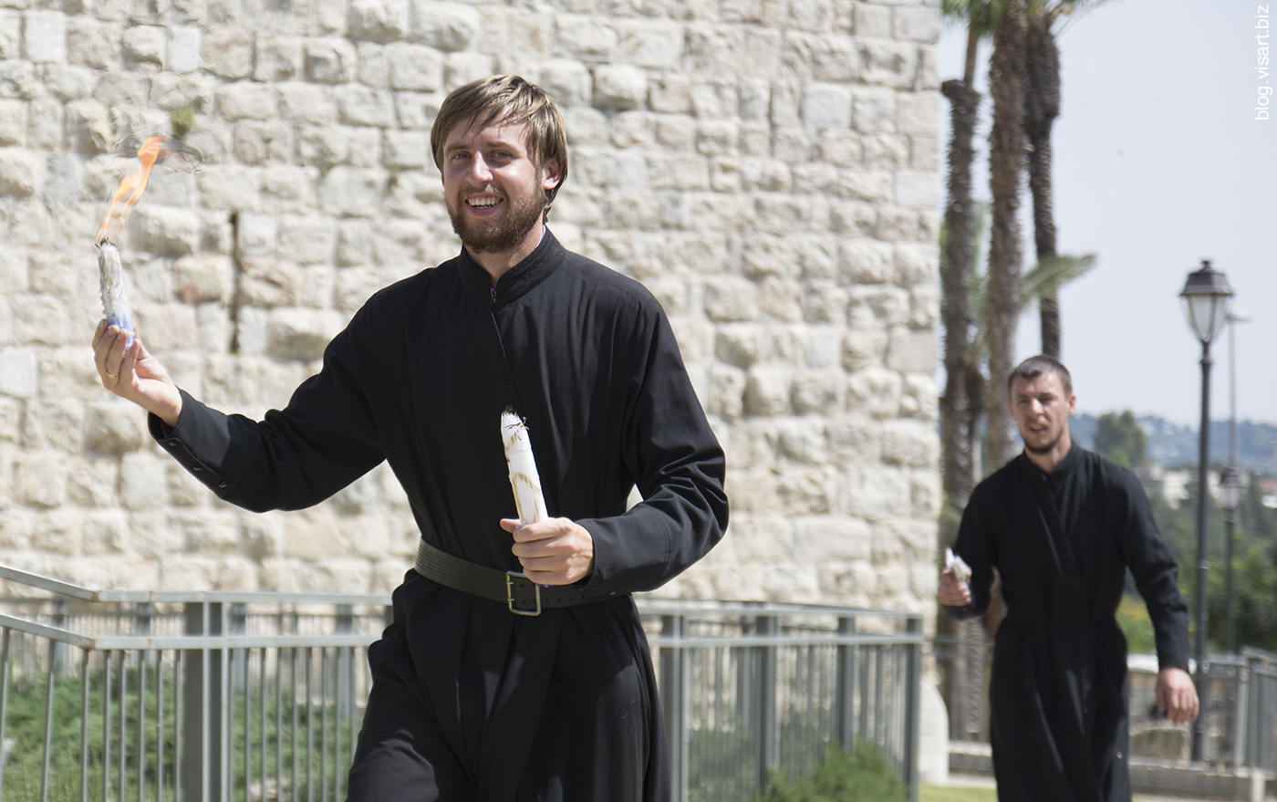 The priest with blessed fire in Jaffa Gate